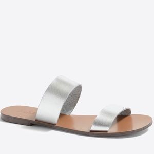 J. CREW factory boardwalk silver sandals size 8
